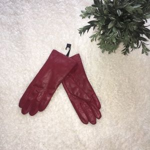Genuine Leather Red Gloves